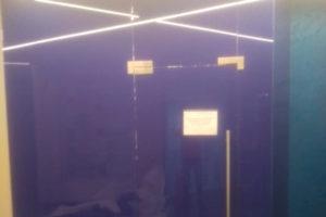 Тонирование стеклянных дверей и перегородок синей пленкой в Екатеринбурге ООО Уралтехпром