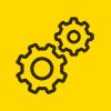 Иконка шестеренки комплекс услуг круглая желтая